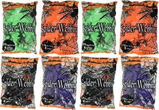 Set of 8 Spooky Stretchy Neon Colored Spider Webs! Green, Purple, Orange, Black! Perfect for Your Next Halloween Gathering! (8, Set of All 4 Colors)