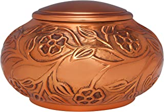 Copper Vines Funeral Urn by Liliane - Cremation Urn for Human Ashes - Hand Made in Brass - Suitable for Cemetery Burial or Niche - Large Size for remains of Adults up to 110 lbs Dark Gold Copper Finis