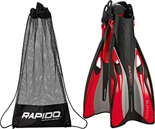 Phantom Aquatics Rapido Boutique Collection Flipper Open Heel Adjustable Snorkel Fin with Snorkeling Gear Carry Bag