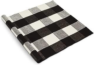 Buffalo Checkered Rug - Outdoor/Kitchen/Bathroom/Living Room/Bedroom/Front Porch Farmhouse Door Mat - Plaid Washable Welcome Doormats - Black & White Doormat Decorations - Indoor/Outdoor Accent Rugs