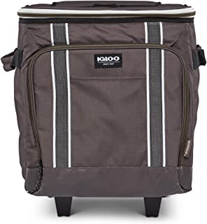 Igloo 40 Can Large Portable Lunchbox Soft Sided Insulated Cooler Box with Wheels and Height Adjustable Pull Bar for Hiking...