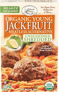 Edward & Sons, Jackfruit Young Unseasoned Shredded Organic, 7 Ounce