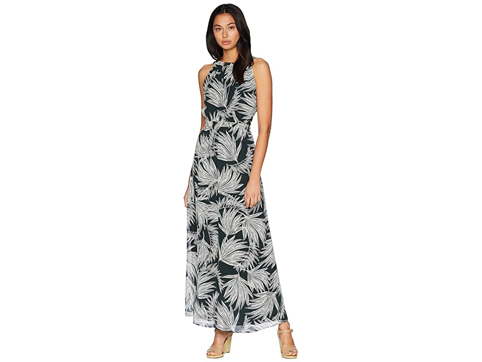 1.STATE Gathered Neck Maxi Dress with Tie Back (Sierra Green) Women