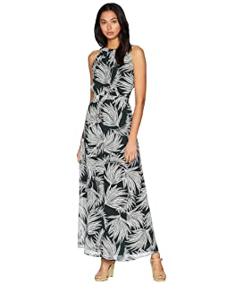 Gathered Neck Maxi Dress with Tie Back