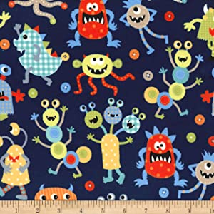Michael Miller Minky Monster Mash Navy Fabric by The Yard