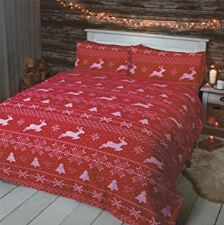 NORDIC CHRISTMAS REINDEER RED WHITE 100% BRUSHED USA QUEEN SIZE (COMFORTER COVER 230 X 220 - UK KING SIZE) (PLAIN RED FITTED SHEET - 152 X 200CM + 25 - UK KING SIZE) 4 PIECE BEDDING SET