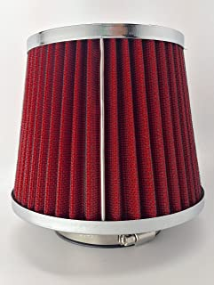 NEW Universal High Performance 3'' Inch Inlet Cone Dry Flow Air Filter Oil Free (Red)