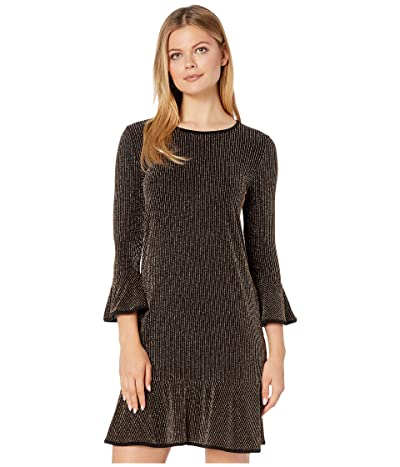 MICHAEL Michael Kors Sparkle Stripe Flounce Dress (Black/Gold) Women