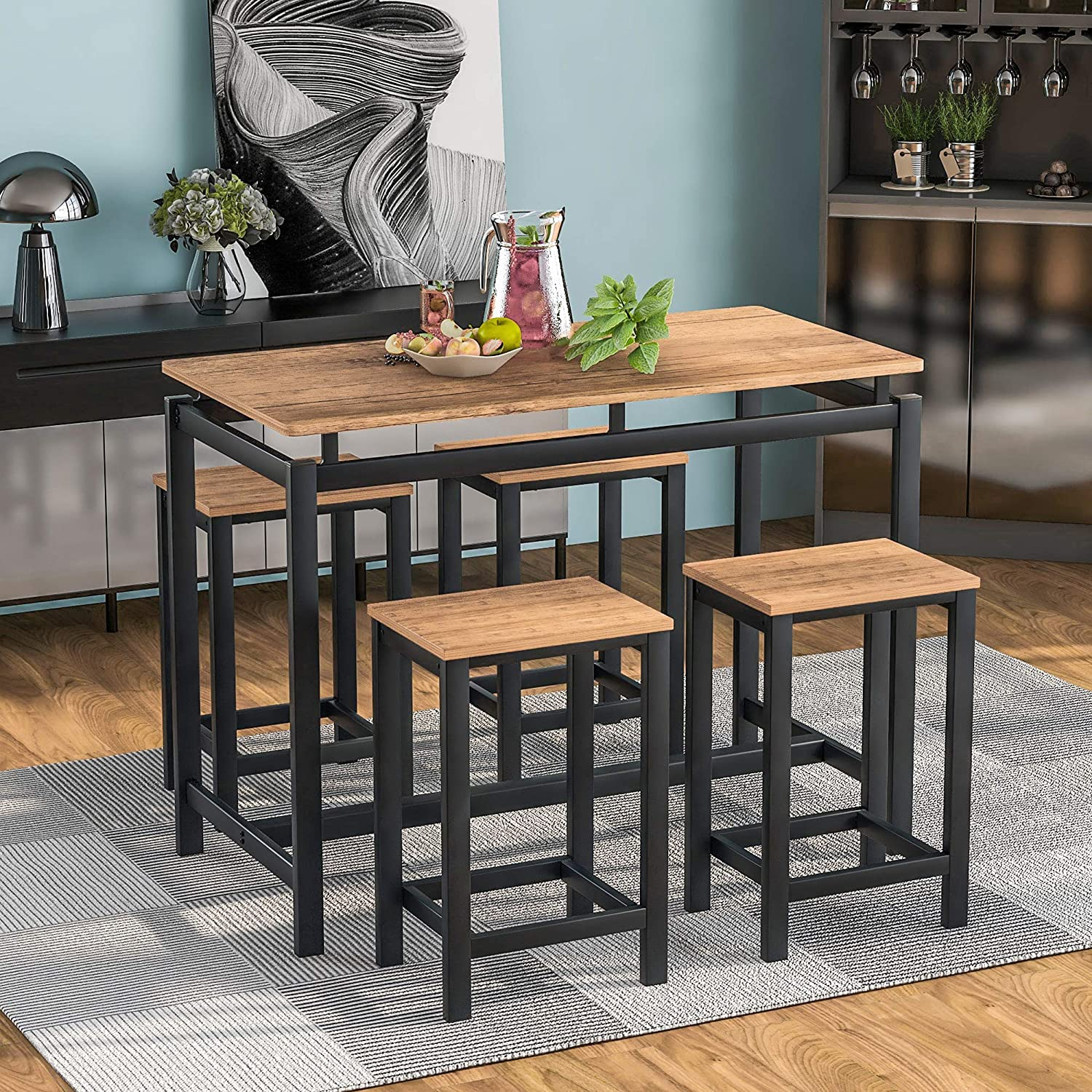 5-Piece Dining Table Safety and trust Set Home Kitchen A Low price 4 Chairs with Di