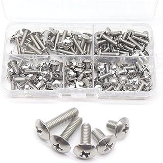 cSeao 150pcs 304 Stainless Steel M4 Truss Phillips Head Machine Screws Assortment Kit, M4x6mm/ 8mm/ 12mm/ 14mm/ 16mm
