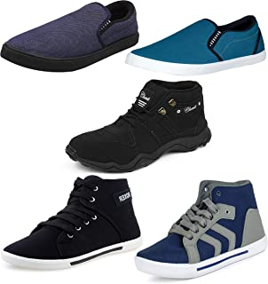 Chevit Men's Combo Pack of 5 Casual & Sports Shoes (Loafers, Sneakers & Running Shoes)