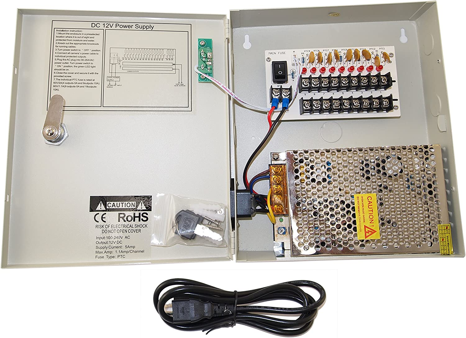 EVERTECH 8 Our shop OFFers the best service Channel 9 Port Power Box 5A 12V Security Camera Am DC cheap