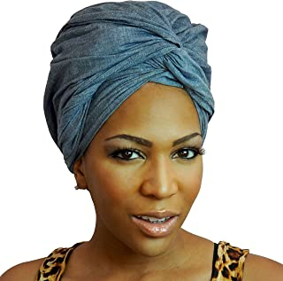 The Urban Turbanista Head Wrap -Extra Long Denim Blue Jean Headwrap Scarf Tie