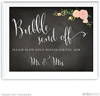 Andaz Press Wedding Party Signs, Chalkboard Pink Coral Floral Roses Print, 8.5x11-inch, Bubble Send Off Please Blow Good Wishes for The New Mr. & Mrs. Sign, 1-Pack