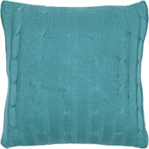 Rizzy Home T05069 Cable Knit Sweater Fabric with Matching Inner Lining Decorative Pillow, 18 by 18-Inch, Turquoise