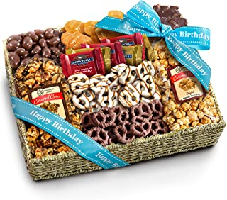 Birthday Chocolate Caramel and Crunch Grand Gift Basket with Snacks, Pretzels, Ghirardelli and Chocolate-covered Nuts