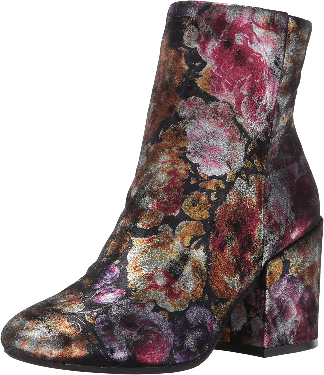 Kenneth Cole New York Womens Reeve Block Heel Bootie Metallic Floral Ankle Bootie
