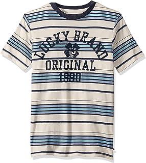 Lucky Brand Boys' Short Sleeve Stripe Graphic Tee Shirt