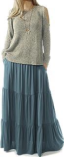 TRENDY UNITED Women's Bohemian Style High Waist Shirring Ruffle Pocket Skirt
