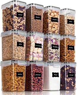 Vtopmart Airtight Food Storage Containers 12 Pieces 1.5qt / 1.6L- Plastic PBA Free Kitchen Pantry Storage Containers for S...