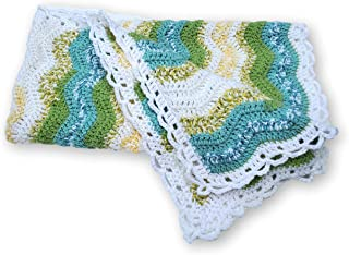 Green and Turquoise Ripple Crochet Baby Blanket