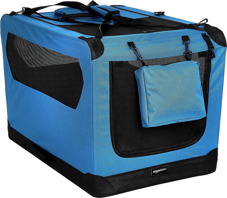Amazon Basics – Transportín para mascotas abatible, transportable y suave de gran calidad, 91 cm, Azul
