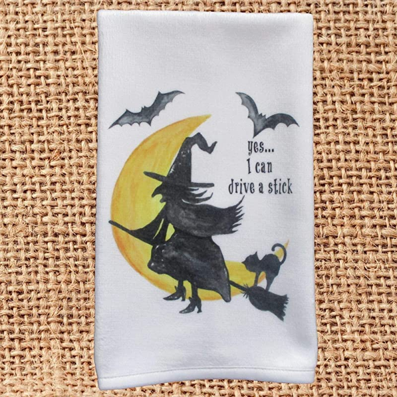 Halloween Witch Hand Towel For Kitchen Or Bath Decor Gift Yes I Can Drive A Stick