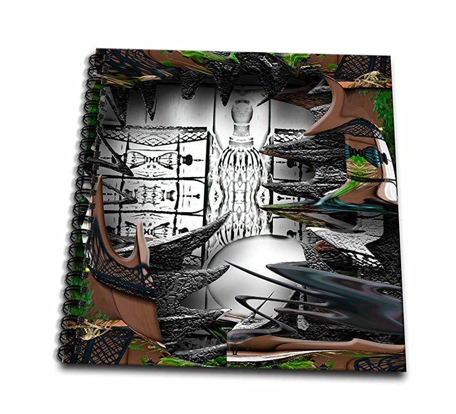 3dRose db_47553_2 A Deep Shadow Box of Black & White Surrounded by Wispy Greens Leaves & Brown Fence Memory Book, 12 by 12