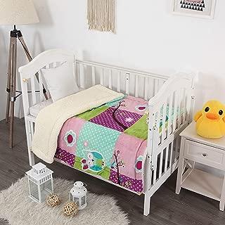 Elegant Homes Kids Soft & Warm Sherpa Baby Toddler Girl Sherpa Blanket Purple Green Pink Turquoise Borrego Stroller or Toddler Bed Blanket Plush Throw 40X50 (Purple Owl)