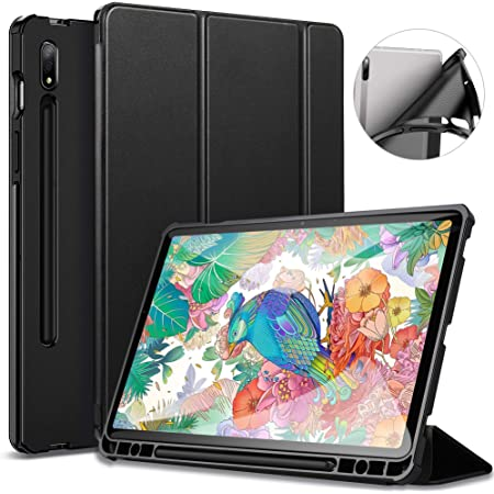 Ultra Thin Smart PU Leather Cover with Sleep//Wake-up Function Compatible with Samsung Galaxy Tab S7 Plus 12.4 inch Black EasyAcc Case Compatible with Samsung Galaxy Tab S7 Plus 12.4 2020