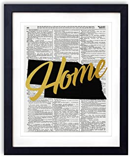 Nebraska Home Gold Foil Art Print - Vintage Dictionary Reproduction Art Print