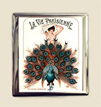 Art Deco Peacock Cigarette Case Business Card ID Holder Wallet Flapper French Parisian 1920s Jazz Age