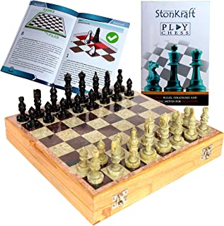 """StonKraft Chess Board with Wooden Base but with Stone Inlaid & Stone Piece Game Set (Size 10"""" X 10"""")"""