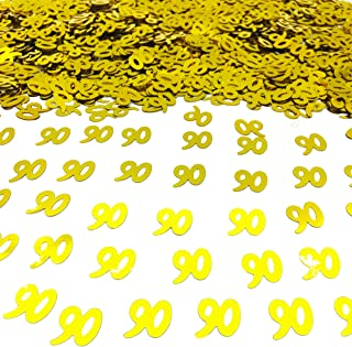 Number 90 Confetti Glitter Metallic Foil Table Party Decorations for Anniversary/Birthday/Wedding 1.5 oz(Golden 90)
