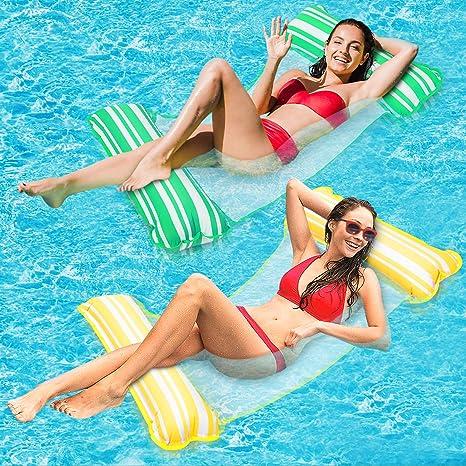 lenbest 2 Pack Hamaca de Agua, Hamaca Flotante, Cama de Agua Inflable, Playa de Jardín y Playa, Juguetes para Adultos y Niños (Amarillo y Verde)