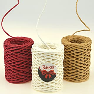 Star Quality 2mm Thick Paper Twine 3 Rolls of 30 Yards   3 Colors Paper String for Binding   Kraft Paper Rope for Gift Wrap and DIY Projects (Kraft/Red/White, 30Yards x 3 Rolls)