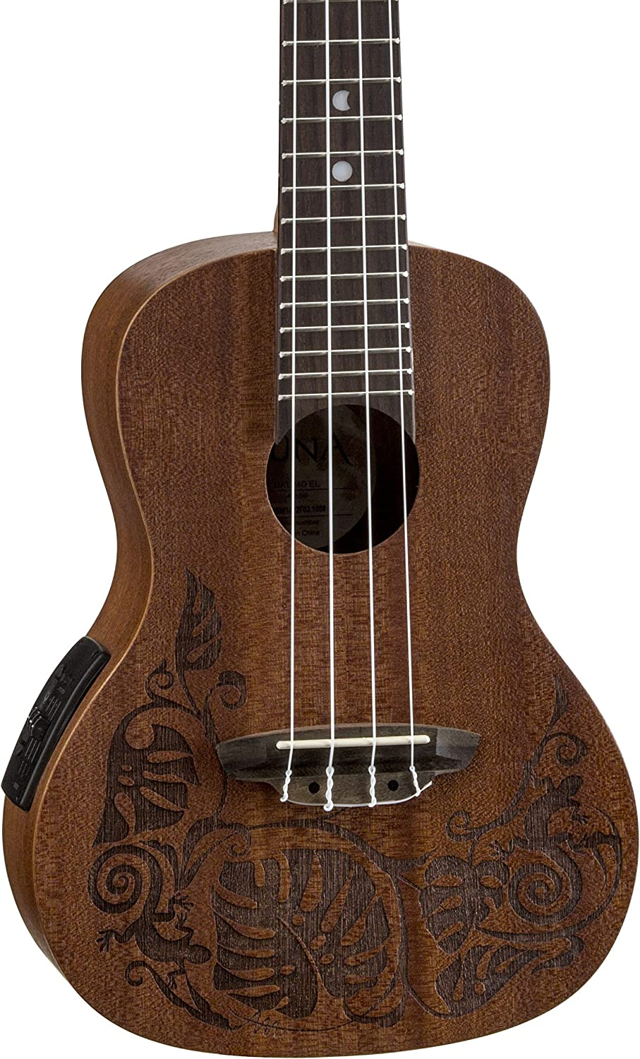 Luna Mo'o Mahogany Acoustic Electric with Concert Al sold out. Bombing new work Ukulele Lizard