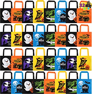 JOYIN 32 PCS Non-Woven Halloween Tote Gift Bags Colorful for Kids, 6 Patterns Design Trick or Treat Bags for Halloween Par...