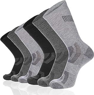 Eallco Men's 6 Pack Athletic Crew Socks Performance Cushioned Breathable Sports Socks