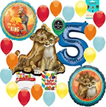 Lion King Party Supplies 5th Birthday Balloon Decoration Supply Bundle with Happy Birthday Card and 8 Treat Bags