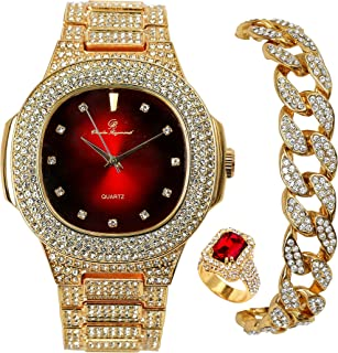 Full ICED Out Luxury Stylish Red Bling Iced Out Square Shaped Watch, Miami Cuban Bracelet and Ruby Red Ring Set