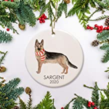 Round Ceramic Keepsake for Christmas Tree Decor, German Shepherd with Hat and Scarf Christmas Ornament, Personalized Dog C...