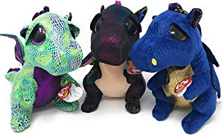 TY Beanie Boos Bundle of 3 Dragons, Includes Anora The Dragon (Medium), Cinder The Dragon (Medium), and Saffire The Dragon (Medium)