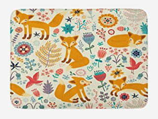 Ambesonne Fox Bath Mat, Natural Wildlife Composition with Foxes Ornate Flowers Flying Birds Kids Nursery, Plush Bathroom Decor Mat with Non Slip Backing, 29.5