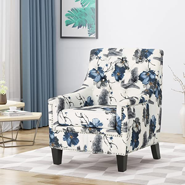 Christopher Knight Home 305567 Paul Fabric Tufted Club Chair Print Gray