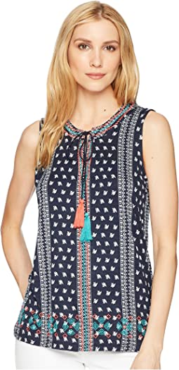 Printed Jersey Sleeveless Top with Embroidery Detail