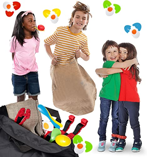 high quality 4 Player Outdoor Games high quality For sale Kids and Adults - Potato Sack Race, Egg & Spoon Race, 3-Legged Relay Race - with Storage Bag, Lawn Games for BBQ, Picnic, Easter, Family Reunion, Birthday Party, Halloween sale