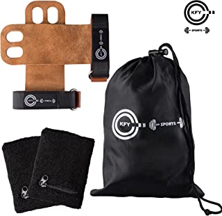 KFY Sports Leather Gymnastics Hand Grips – for Crossfit Workout Training Chin ups Pull-ups WODs Kettlebells – Carrying Bag & Sweatbands with Zipper Pocket - Fitness Lifting Wrist Support(Brown Medium)