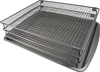 Weston 07-0155-W Nonstick 3-Tier Drying Rack and Baking Pan, 700 Square inches Space, Silver