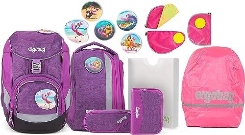 Ergobag Pack Insel HoppB Schulrucksack-Set 6tlg. + Sicherheitsset + Regencape Rosa